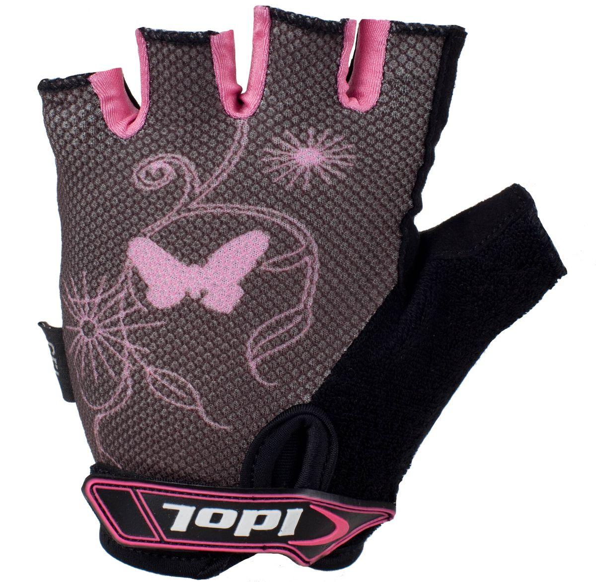 Перчатки велосипедные Idol, цвет: черный, розовый. 878. Размер L878Женские велосипедные перчатки без пальцев Idol предназначены для тех, кто занимается велоспортом, велотуризмом или просто катается на велосипеде. Рабочая поверхность велоперчаток выполнена из плотного сетчатого материала, а верхняя часть - из лайкры, хорошо отводящей влагу и, благодаря своей упругости, плотно сидящей на руке. На запястьях перчатки фиксируются прочными липучками. Для удобства снятия каждая перчатка оснащена двумя небольшими петельками. Высокое качество, технически совершенные материалы, оригинальный стильный дизайн, функциональность и долговечность выделяют велоперчатки Idol среди прочих.