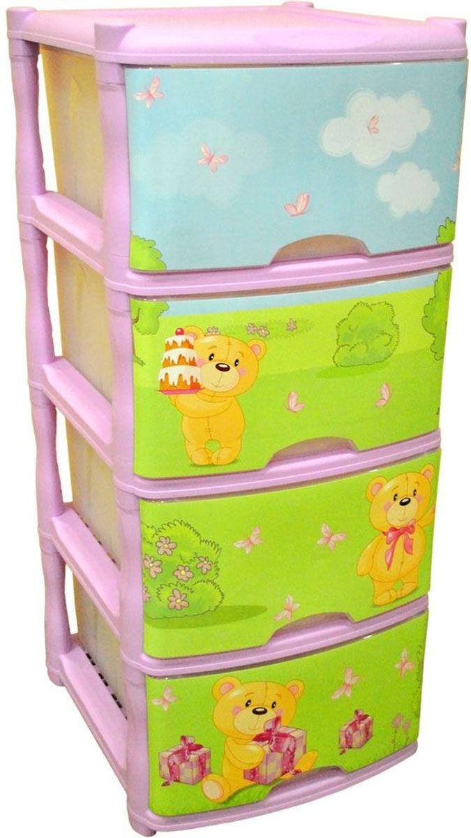 Little Angel Детский комод Bears Tutti 4 ящика цвет лавандовый