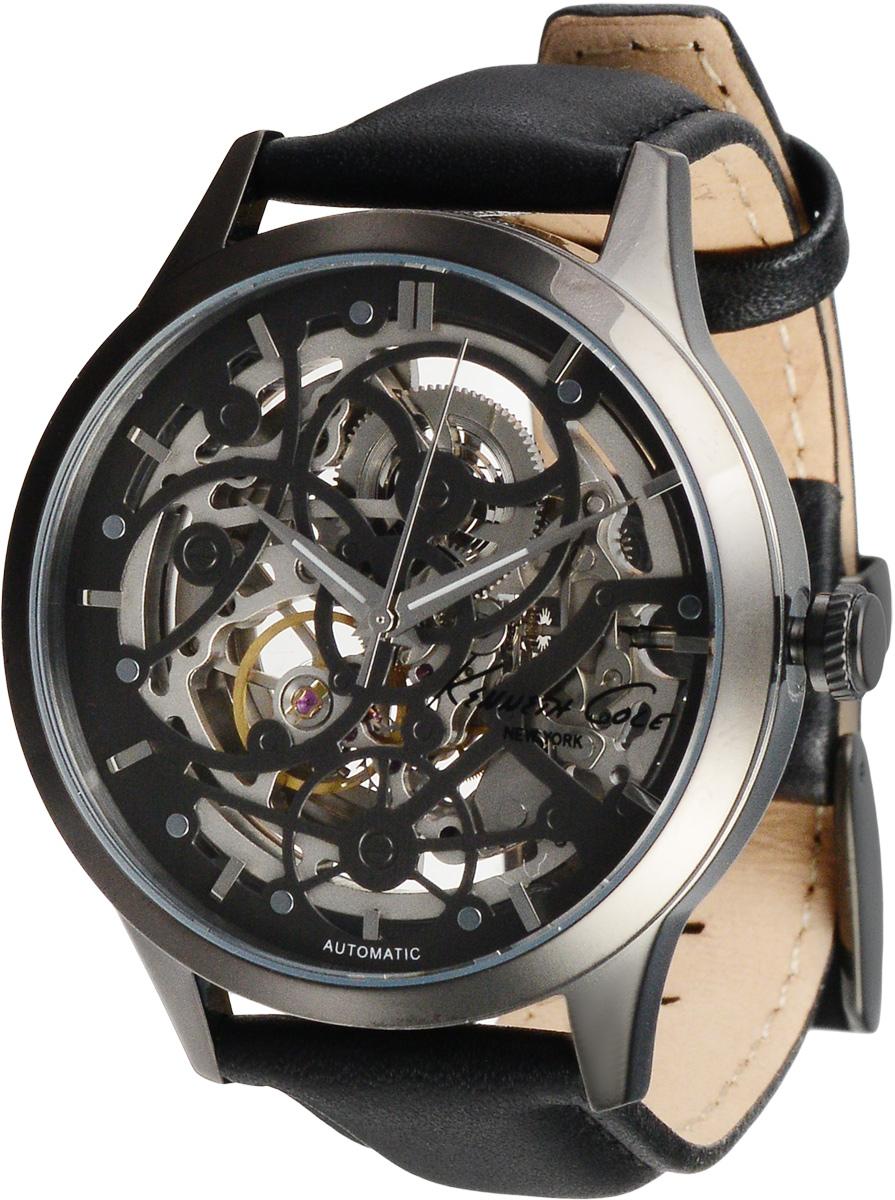 Часы мужские наручные Kenneth Cole, цвет: черный. 1002628510026285Наручные мужские часы Kenneth Cole произведены опытными специалистами из материалов самого высокого качества на базе новейших технологий. Они оснащены точным кварцевым механизмом. Корпус часов, изготовленный из нержавеющей стали, защищен минеральным стеклом. Ремешок с классической застежкой выполнен из натуральной кожи. Прозрачный циферблат с видимым глазу механизмом оснащен отметками, а также тремя стрелками - часовой, минутной и секундной. Часы укомплектованы в фирменную коробку с названием бренда.