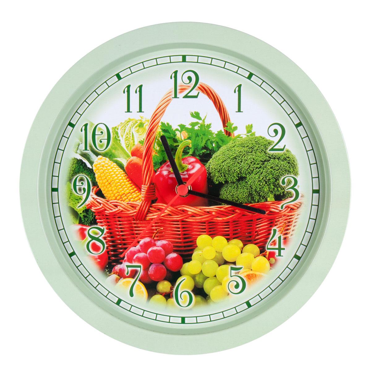 Часы настенные Miolla ОвощиCH003Оригинальные настенные часы круглой формы Miolla Овощи выполнены из металла. Часы имеют три стрелки - часовую, минутную и секундную. Необычное дизайнерское решение и качество исполнения придутся по вкусу каждому. Оформите свой дом таким интерьерным аксессуаром или преподнесите его в качестве презента друзьям, и они оценят ваш оригинальный вкус и неординарность подарка. Часы работают от 1 батарейки типа АА напряжением 1,5 В. Диаметр часов: 33 см.