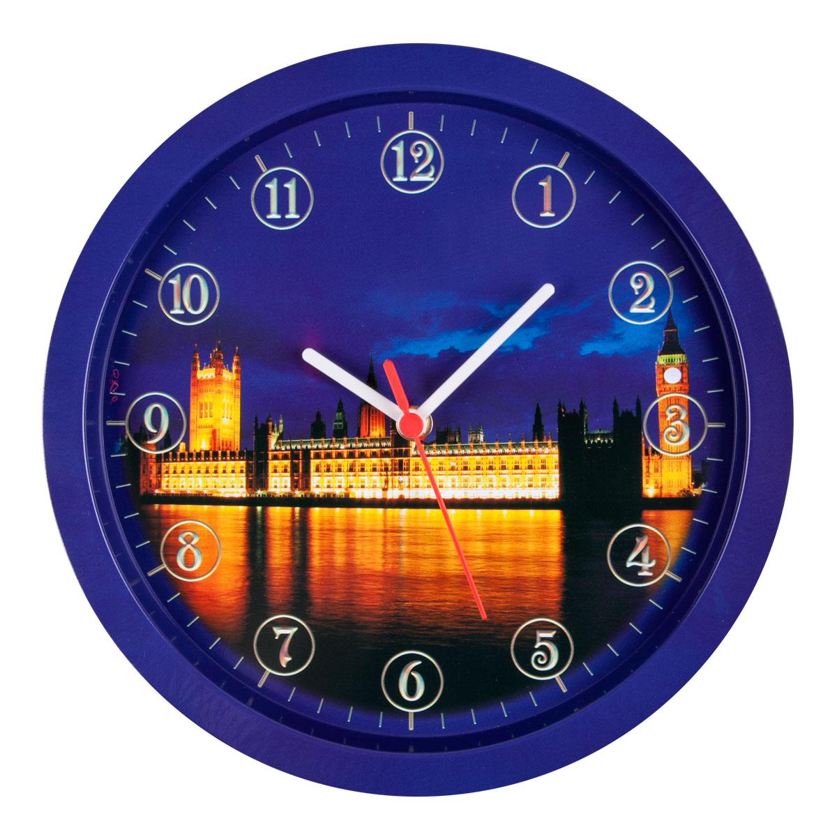 Часы настенные Miolla Лондон, цвет: синий, оранжевый54 009303Оригинальные настенные часы круглой формы выполнены из стали. Часы имеют три стрелки - часовую, минутную и секундную и циферблат с цифрами. Необычное дизайнерское решение и качество исполнения придутся по вкусу каждому. Оформите свой дом таким интерьерным аксессуаром или преподнесите его в качестве презента друзьям, и они оценят ваш оригинальный вкус и неординарность подарка.