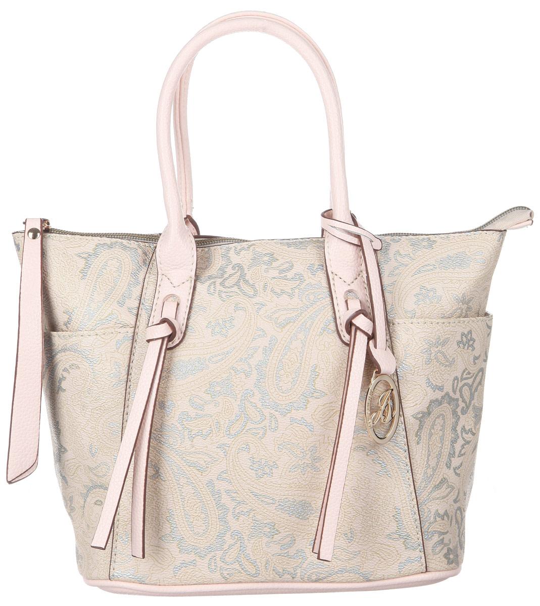 Сумка женская Jane Shilton, цвет: бежевый, светло-розовый, серебристый. 20862086ivСтильная женская сумка Jane Shilton, выполненная из искусственной кожи, оформлена оригинальным принтом и дополнена фирменным брелоком. Изделие имеет одно основное отделение, которое закрывается на застежку-молнию. Внутри находятся прорезной карман на застежке-молнии и накладной открытый карман. Снаружи, по бокам расположены нашивные открытые карманы. Модель оснащена двумя удобными ручками. В комплект входит съемный плечевой ремень. Роскошная сумка внесет элегантные нотки в ваш образ и подчеркнет ваше отменное чувство стиля.