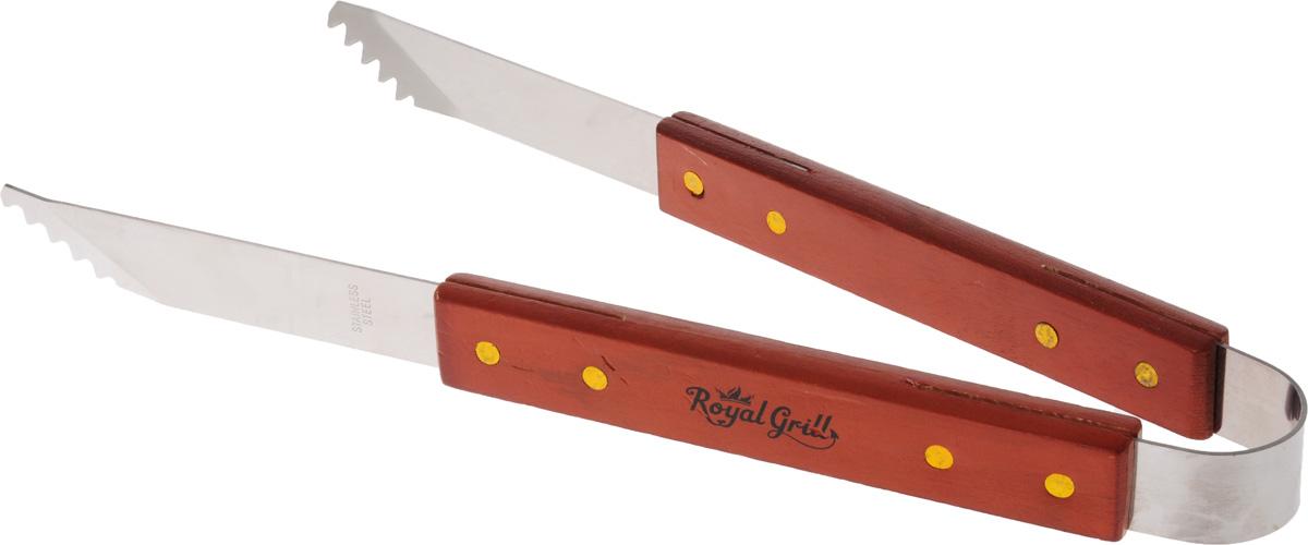 Щипцы для гриля RoyalGrill, длина 35 см80-009Оригинальные щипцы RoyalGrill идеально подходят для переворачивания ваших блюд на гриле. Изделие изготовлено из стали и оснащено деревянными ручками, которые помогут уберечь ваши руки от жара и огня. Длина щипцов: 35 см.