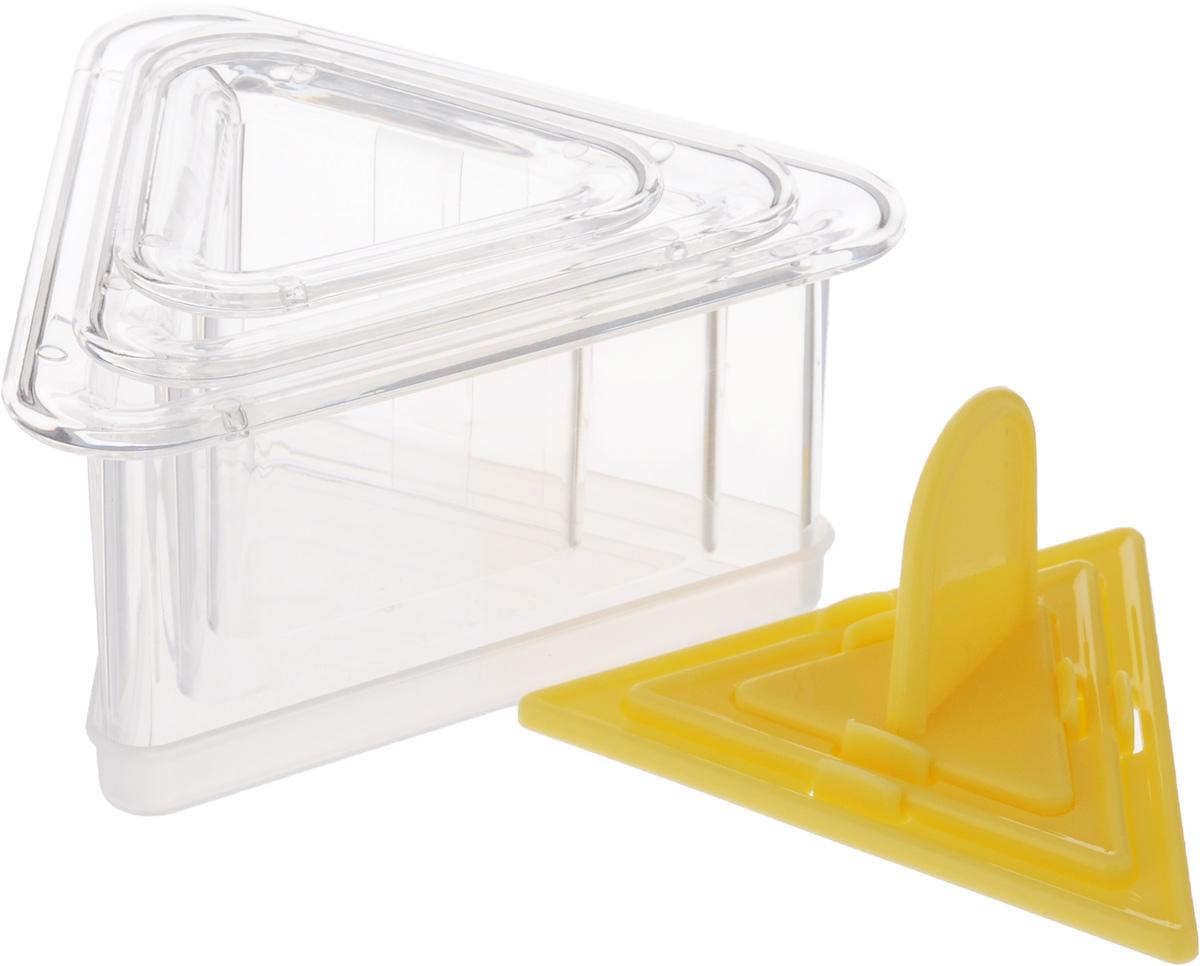 Набор для придания формы блюдам Tescoma Presto. FoodStyle, треугольники422216Набор Tescoma Presto. FoodStyle содержит 3 треугольных формочки разного размера, 3 пресса для уплотнения продукта и крышки для хранения. Такой набор отлично подходит для придания продуктам формы и приготовления многослойных закусок, гарниров и десертов. Предметы набора изготовлены из высококачественного прочного пластика. Инструкция по применению и рецепты внутри. Можно мыть в посудомоечной машине. Размер большой формочки: 12 х 10,5 х 5,5 см. Размер средней формочки: 9,5 х 8,5 х 5 см. Размер малой формочки: 6,5 х 7 х 5 см.