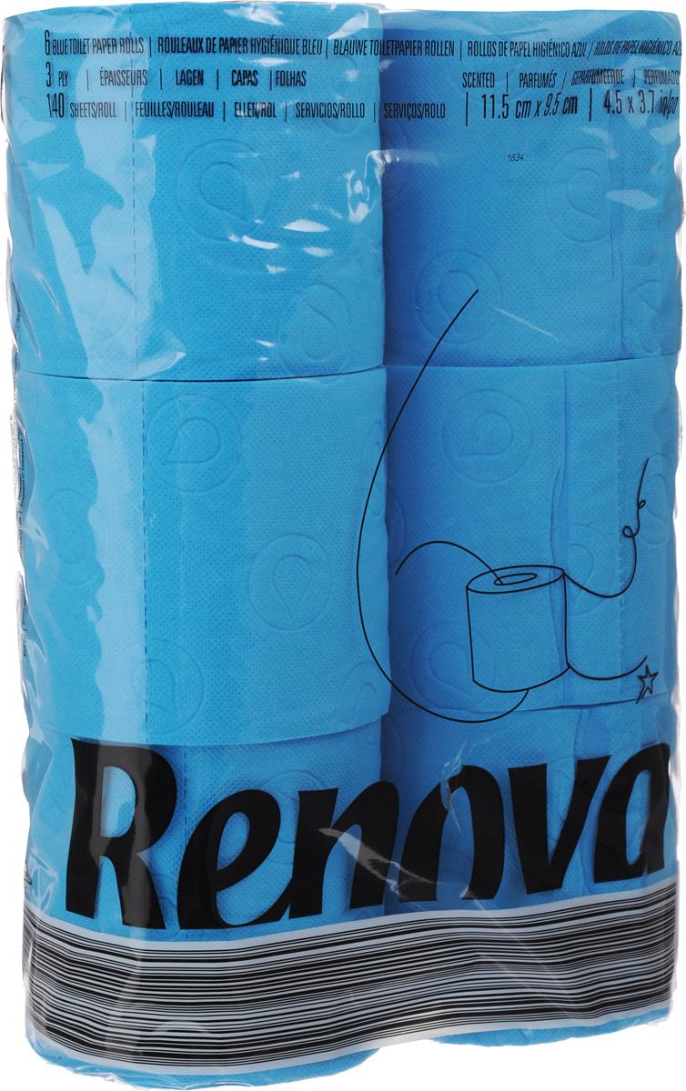 Туалетная бумага Renova Color, трехслойная, ароматизированная, цвет: синий, 6 рулонов11969Туалетная бумага Renova Color изготовлена по новейшей технологии из 100% ароматизированной целлюлозы с лосьоном, благодаря чему она имеет тонкий аромат, очень мягкая, нежная, но в тоже время прочная. Перфорация надежно скрепляет слои бумаги. Туалетная бумага Renova Color сочетает в себе простоту и оригинальность. Состав: 100% ароматизированная целлюлоза. Количество листов: 140 шт. Количество слоев: 3. Размер листа: 11,5 х 9,7 см. Количество рулонов: 6 шт.