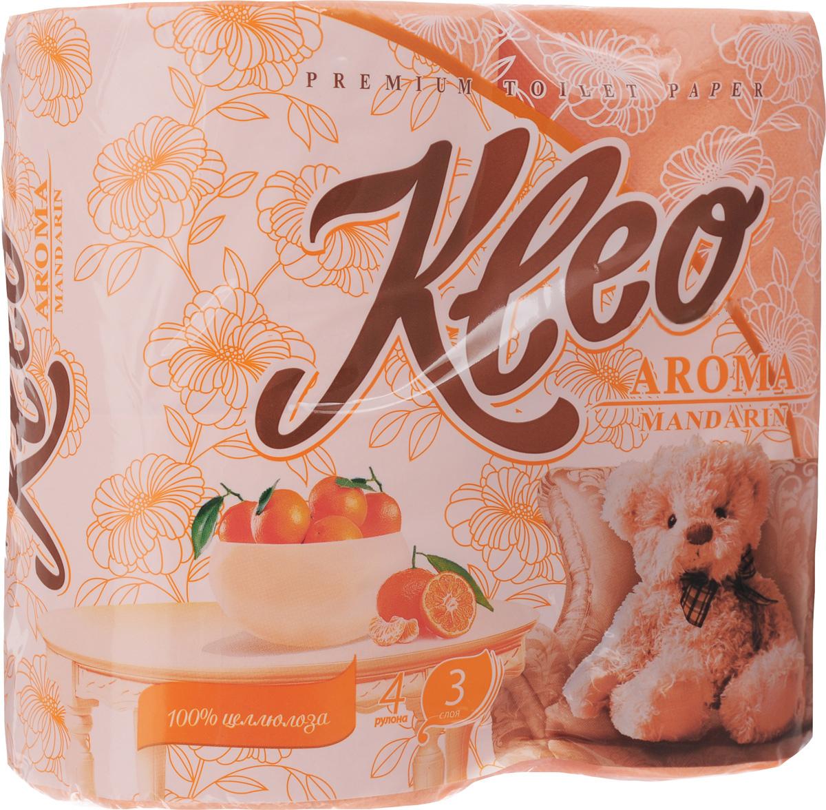 Туалетная бумага Kleo Aroma. Мандарин, ароматизированная, трехслойная, 4 рулонаС-98Ароматизированная туалетная бумага Kleo Aroma. Mandarin, выполненная из натуральной целлюлозы и обладает приятным ароматом цитруса. Трехслойная туалетная бумага мягкая, нежная, но в тоже время прочная, с отрывом по линии перфорации. Листы имеют рисунок с тиснением. Количество листов: 168 шт. Количество слоев: 3. Размер листа: 12,5 х 9,6 см. Состав: 100% целлюлоза.
