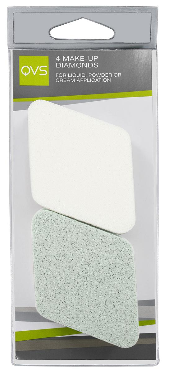 QVS Спонжи для макияжа в форме ромба; 4 шт10-1072Спонжи для макияжа в форме ромба 4 шт. идеально подходят для нанесения и растушевки макияжа. Их специальная ромбовидная форма обеспечивает максимальное покрытие. Способ применения: Легкими касаниями нанесите тональную основу на нос, лоб, щеки, подбородок. Мягко и равномерно растушуйте косметическое средство от центра к периферии лица. Закругленные кончики позволяют без труда нанести макияж на самых труднодоступных участках, например, вокруг носа и глаз.