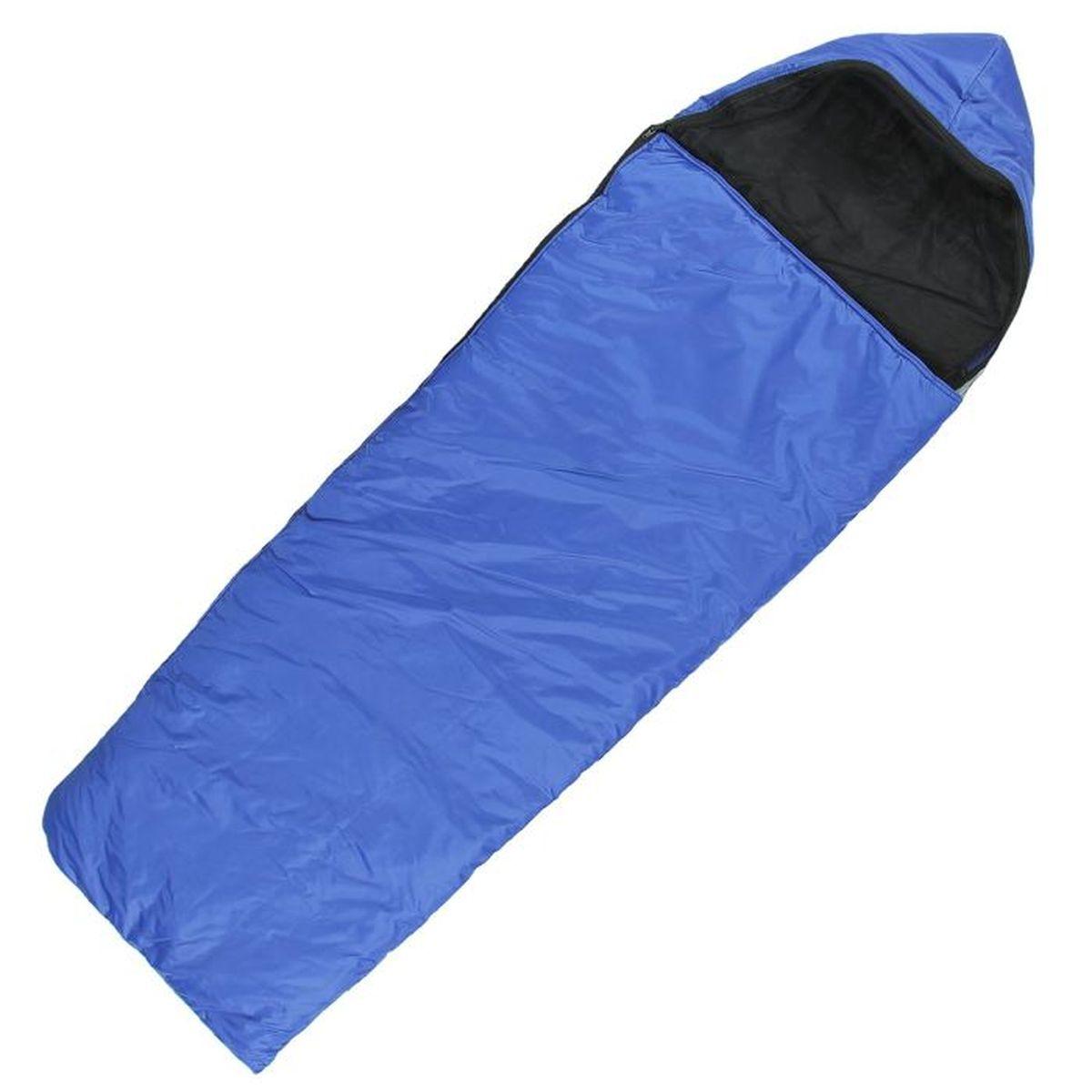 Спальный мешок Onlitop Люкс, цвет: синий, правосторонняя молния. 1135991ATC-F-01Комфортный, просторный и очень теплый 3-х сезонный спальник предназначен для походов и для отдыха на природе не только в летнее время, но и в прохладные дни весенне-осеннего периода. В теплое время спальный мешок можно использовать как одеяло (в том числе и дома).