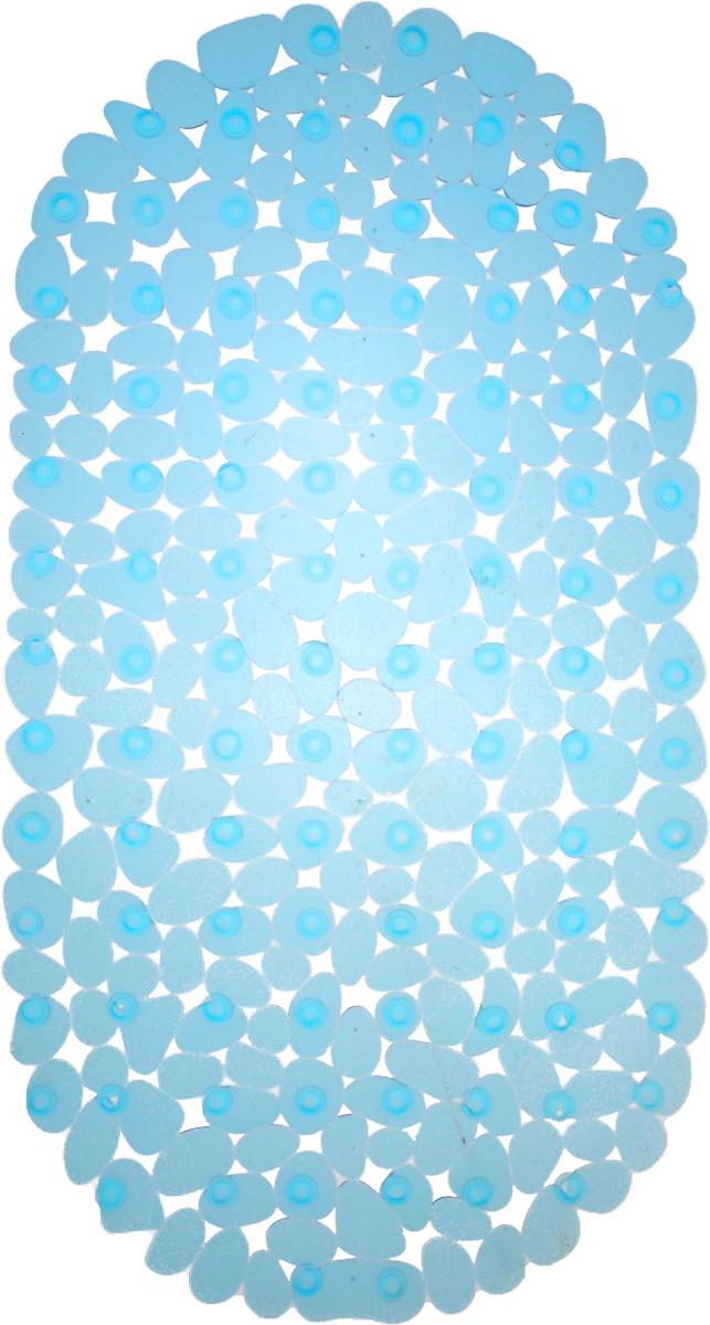 Коврик для ванны Vortex Галька, противоскользящий, овальный, цвет: голубой, 36 х 69 см. 1504215042_голубойКоврик Vortex Галька, изготовленный из ПВХ, предназначен для использования в ванной комнате и душевой кабине против скольжения. Коврик крепится на дно ванны с помощью небольших вакуумных присосок. Благодаря рельефной поверхности, коврик предотвращает скольжение и исключает возможность падения в ванне. Размер коврика: 36 х 69 см.