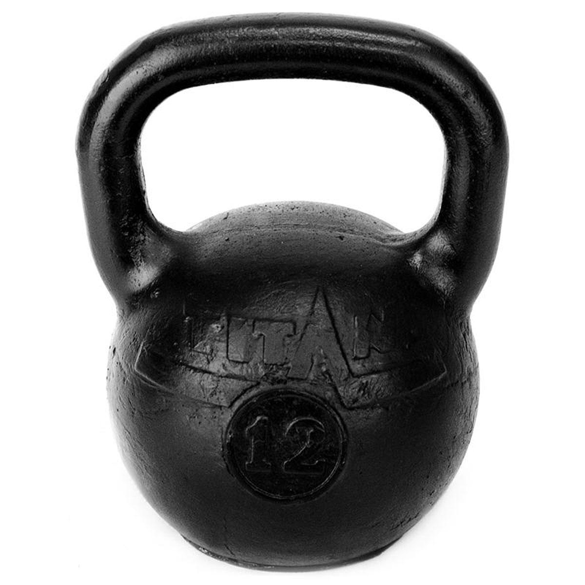 Гиря чугунная Titan, 12 кг40162Гиря Titan выполнена из высококачественного прочного чугуна. Эргономичная рукоятка не скользит в руке, обеспечивая надежный хват. Чугунная гиря прочна, долговечна, устойчива к коррозии и температурам, поэтому является одними из самых популярных спортивных снарядов. Гири - это самое простое и самое гениальное спортивное оборудование для развития мышечной массы. Правильно поставленные тренировки с ними позволяют не только нарастить мышечную массу, но и развить повышенную выносливость, укрепляют сердечнососудистую систему и костно-мышечный аппарат.Вес гири: 12 кг.