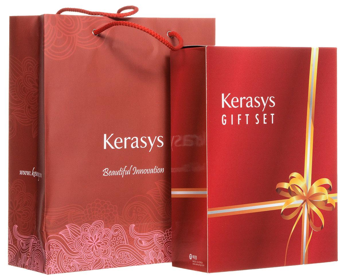 KeraSys Подарочный набор для волос Oriental Premium: шампунь, кондиционер, мыло, 2 шт895306ОПодарочный набор KeraSys Oriental Premium состоит из шампуня, бальзам-ополаскивателя для волос и двух мыл. К набору прилагается подарочный пакет с двумя ручками. Шампунь KeraSys Oriental Premium защищает от ультрафиолетовых лучей. Восточные травы помогают защитить кожу головы от вредных воздействий и компенсируют нехватку коже липидов. Присутствующие в составе ингредиенты укрепляют корни волос. Дуопротеин восстанавливает поврежденные волосы. Кератин делает поврежденные волосы более здоровыми и шелковистыми. Кондиционер для волос KeraSys Oriental Premium.Система лечения волос является исключительным набором для ухода за волосами, научно разработанным для восстановления поврежденных волос. Бальзама содержит масло чайного дерева, экстракты восточных трав, которые увлажняют и придают энергию поврежденным волосам. Мыло Vital Energy Bar содержит в своем составе экстракты альпийских трав и морские минералы, которые успокаивают и регенерируют вашу...