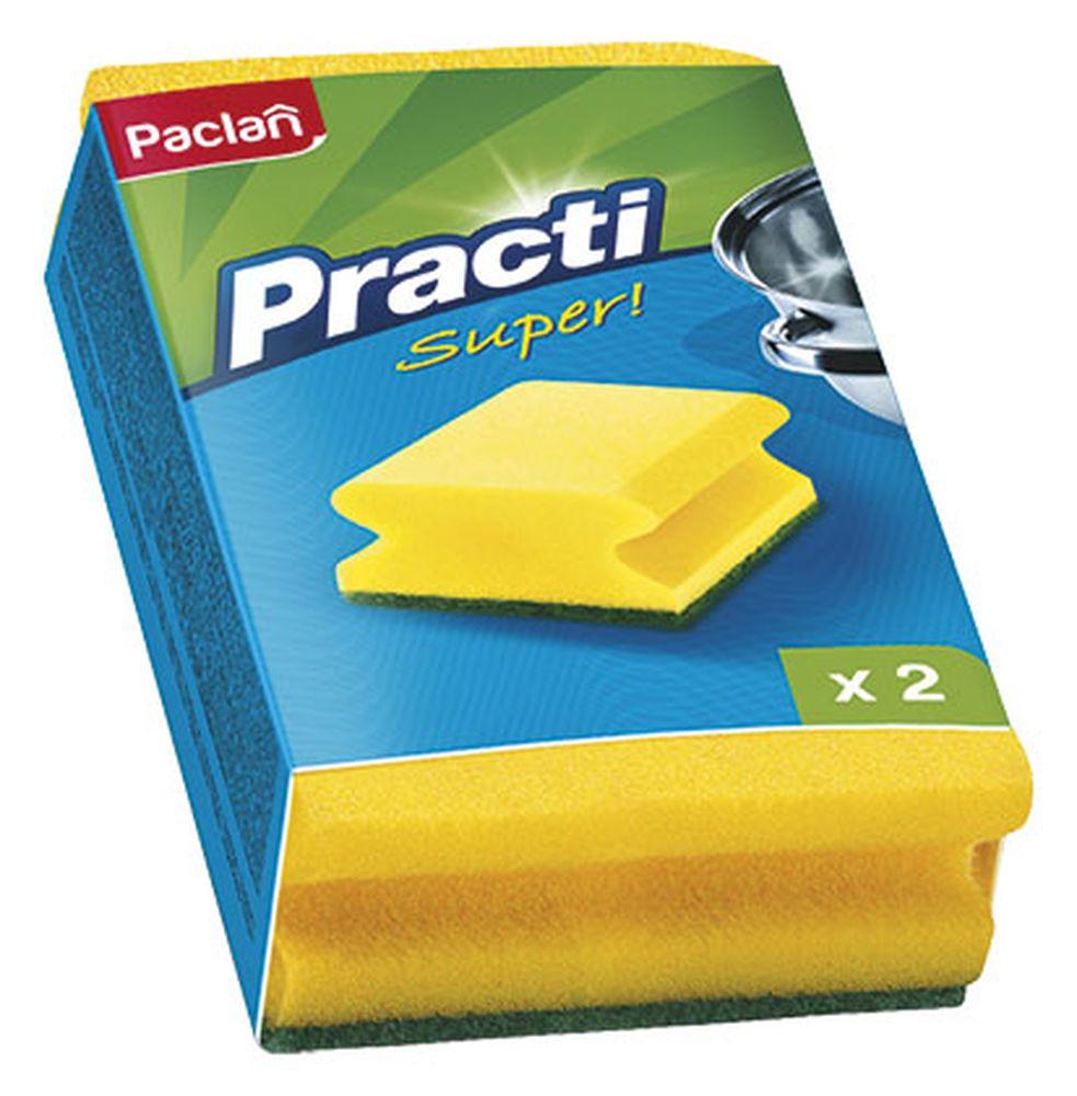 Губки для посуды Paclan, 2 шт320028/135501/320023/320027Чистит основательно и бережно, хорошо впитывает жидкость, позволяет расходовать минимальное количество чистящих средств.