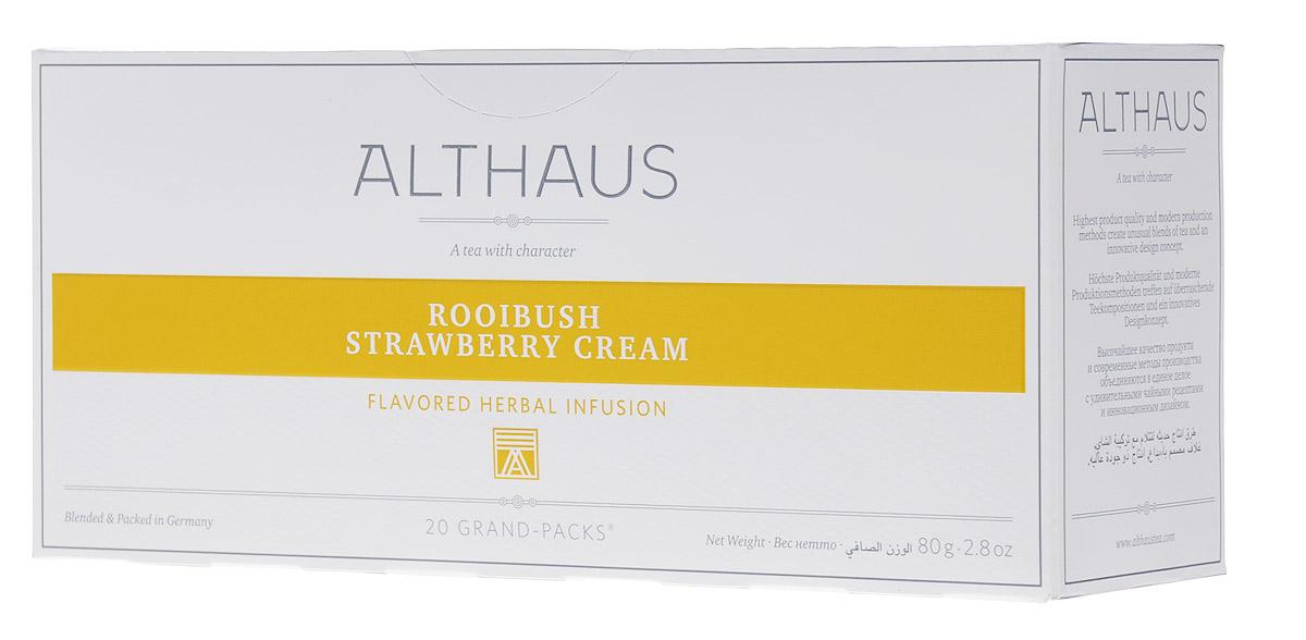 Althaus Grand Pack Rooibush Strawberry Cream ягодный чай в пакетиках, 20 шт0120710Althaus Rooibush Strawberry Cream (Ройбуш Клубника со Сливками) — это превосходное сочетание вкуса спелой клубники, воздушных сливок и нежного аромата отборных листьев ройбуша.Ройбуш — это экзотический напиток из Южной Африки, который не содержит кофеина и исключительно полезен для здоровья.