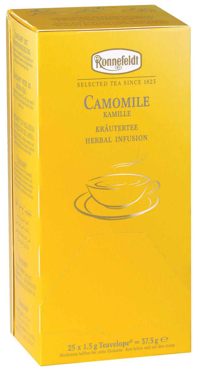 Ronnefeldt Ромашка аптечная травяной чай в пакетиках, 25 шт15020Ronnefeldt Ромашка аптечная - успокаивающий травяной чай с характерным вкусом и ароматом ромашки. Чай из линии Teavelope произведен традиционным способом. Качество трав, фруктов и других ингредиентов отвечает самым высоким требованиям. А особая защитная упаковка сохраняет чай таким, каким его создала природа: ароматным, свежим и неповторимым.