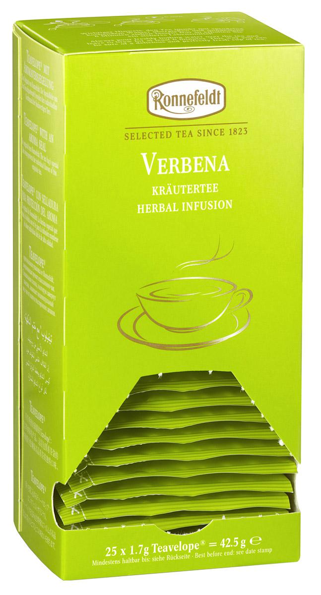 Ronnefeldt Вербена травяной чай в пакетиках, 25 шт0120710Необычный травяной чай с высоким содержанием эфирных масел и нежным цитрусовым вкусом лимонной вербены.Чай из линии Teavelope произведен традиционным способом. Качество трав, фруктов и других ингредиентов отвечает самым высоким требованиям. А особая защитная упаковка сохраняет чай таким, каким его создала природа: ароматным, свежим и неповторимым.