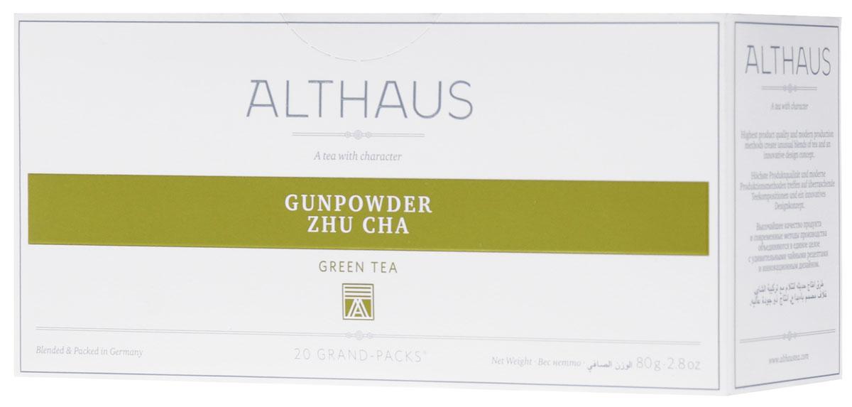 Althaus Grand Pack Gunpowder Zhu Cha зеленый чай в пакетиках, 20 штTALTHB-GP0034Althaus Gunpowder Zhu Cha (Жу Ча Ружейный Порох) — популярный китайский зеленый чай с классическим ароматом и терпким травянистым вкусом. Взрывное имя этому чаю в XVIII веке дали англичане, так как его сильно скрученные глянцевитые листочки внешне напоминали металлические дробинки. Жу Ча пьют в обед и вечером, с сахаром, мятой, лимоном.