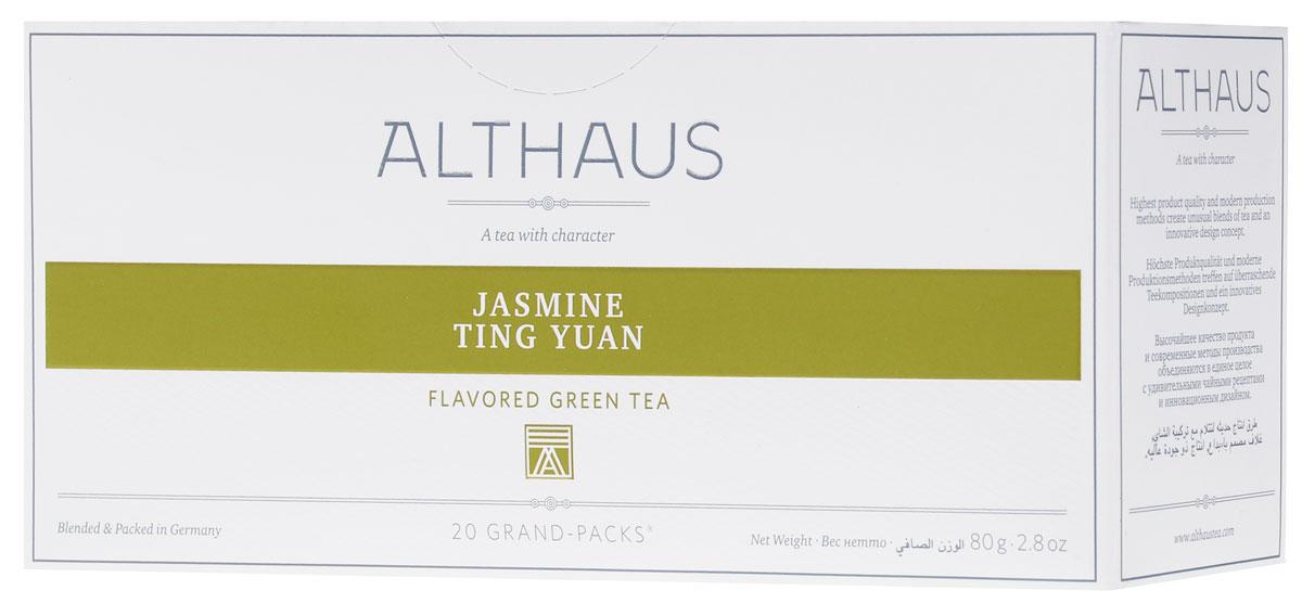 Althaus Grand Pack Jasmine Ting Yuan зеленый чай в пакетиках, 20 штTALTHB-GP0036Althaus Jasmine Ting Yuan (Жасмин Тинг Юань) — замечательный китайский зеленый чай с ровными, очень длинными листьями, украшенный полупрозрачными цветами жасмина. При заваривании Жасмин Тинг Юань дает насыщенный чуть сладковатый настой с древесно-цветочным вкусом и тонким чувственным ароматом. Жасмин Тинг Юань превосходно сочетается с блюдами китайской кухни.