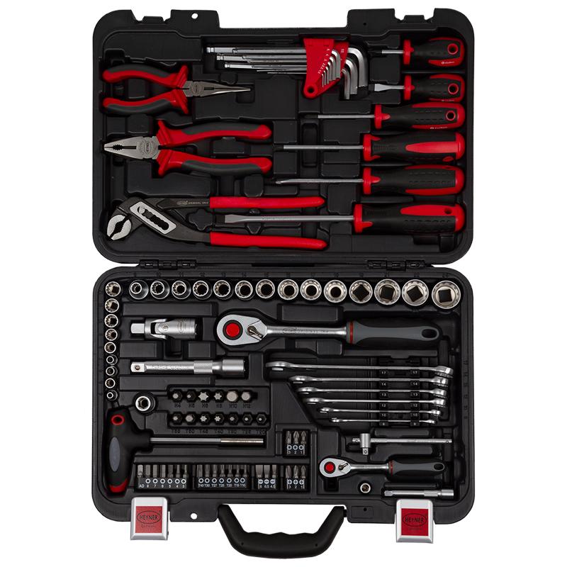 Набор инструментов Heyner, 91 предмет333100Набор инструментов 91 предмет. ? : 9 мульти шестигранных головок 4-5-6-7-8-9-10-11-12 мм., 1 удлинитель 75 мм., 1 отвертка с Т-образной рукояткой, 1 преходник 1/4 Dr. X ? Hex, 1 адаптер для бит. ? : 14 мультишестигранных головок 8-10-11-12-13-14-15-16-17-18-19-21-22-24, 1 карданный шарнир, 1 удлинитель 125 мм., 1 переходник ? (F) x 10 мм. Hex, 1 трещетка с 72 зубьями, 6 мультикомбинированных гаечных ключа 8-10-12-13-14-17, 9 шестигранных ключа 1,5-2-2,5-3-4-5-6-8-10,13 бит 10 ммч30 мм (H) 4-5-6-8-10-12 (T) 20-25-30-40-45-50-55, 1 длинногубцы 160 мм., 1 пассатижи комбинированные 180 мм.,1 трубчатые клещи. 6 отверток (-) 8х150 мм 6х100 мм 6х38 мм (+) 2х38 мм 2х100 мм 1х75 мм