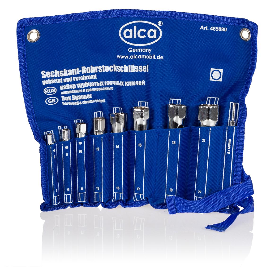 Набор трубчатых гаечных ключей Alca, 16 размеров, 8 шт465080Набор трубчатых гаечных ключей Alca применяется для монтажа и демонтажа резьбовых соединений. Изделия выполнены из высококачественной хромированной стали. Для удобной переноски предусмотрена практичная сворачиваемая сумка. В набор входит 8 ключей 16 размеров: 6 мм, 7 мм, 8 мм, 9 мм, 10 мм, 11 мм, 12 мм, 13 мм, 14 мм, 15 мм, 16 мм, 17 мм, 18 мм, 19 мм, 21 мм, 22 мм.