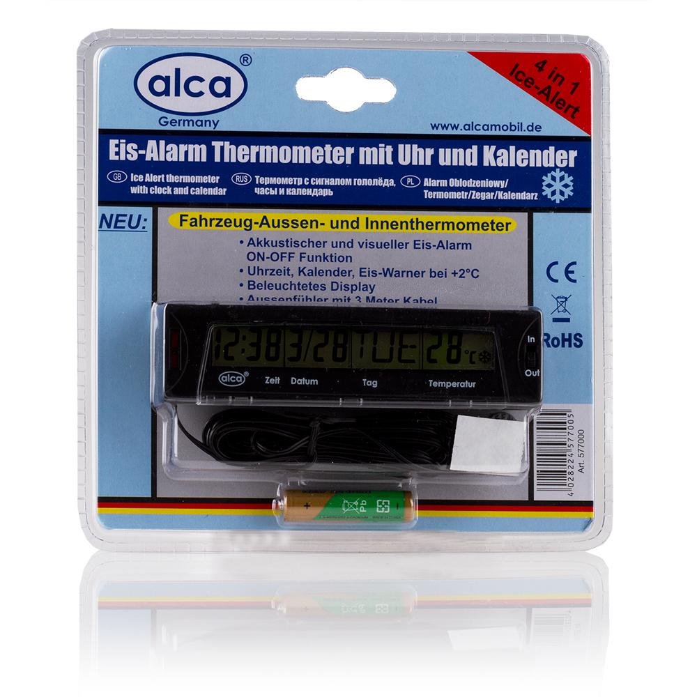 Термометр автомобильный Alca, с сигналом гололеда, часами и календарем577000Автомобильный термометр Alca включает в себя функцию сигнала гололеда, часы и календарь. Индикатор и звуковое предупреждение сообщат вам об обледенении от +2 градусов. Наружный датчик оснащен кабелем длиной 3 м. Питается от 1 батареи типа ААА (входит в комплект). Показание с переключением: 12 ч/24 ч, °C/°F.