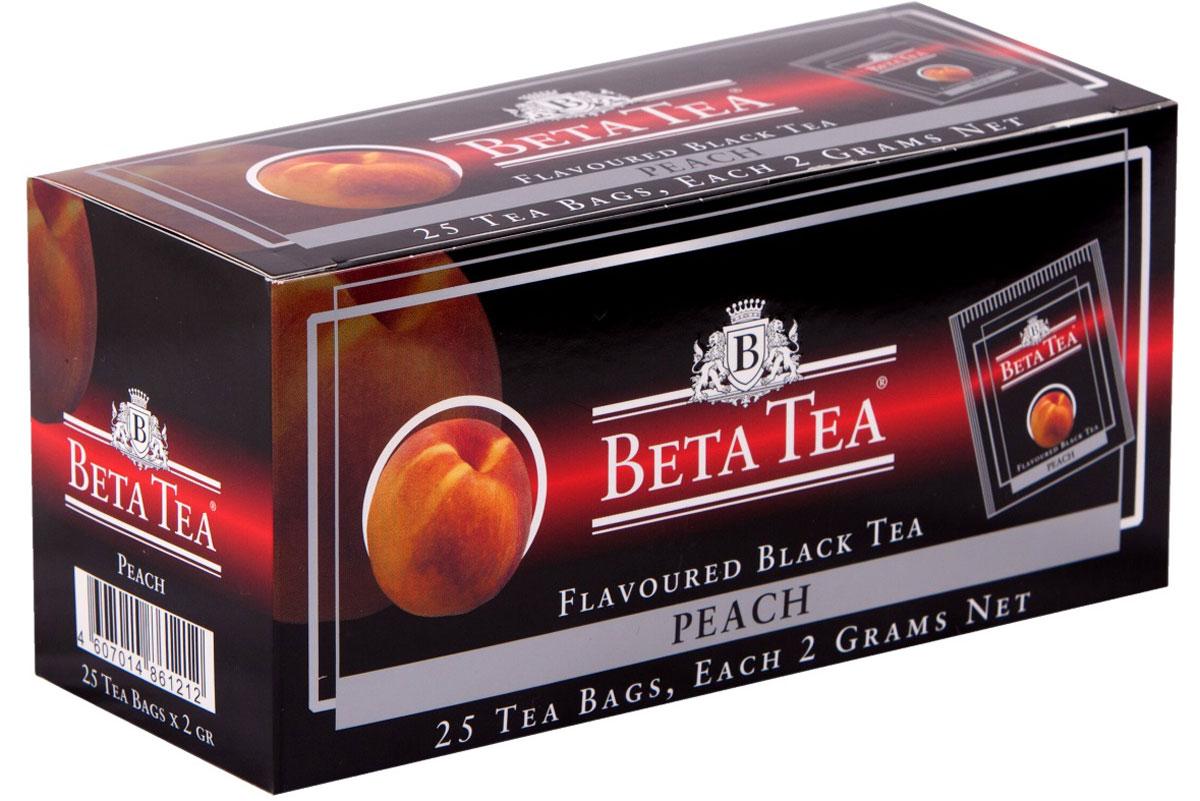 Beta Tea Персик ароматизированный чай в пакетиках, 25 шт101246Beta Tea Персик содержит в себе неповторимый персиковый аромат, что придает чаю изысканный вкус. Этот чай, собранный с самых лучших плантаций Цейлона, производится в экологически чистых условиях при помощи современных технологий.