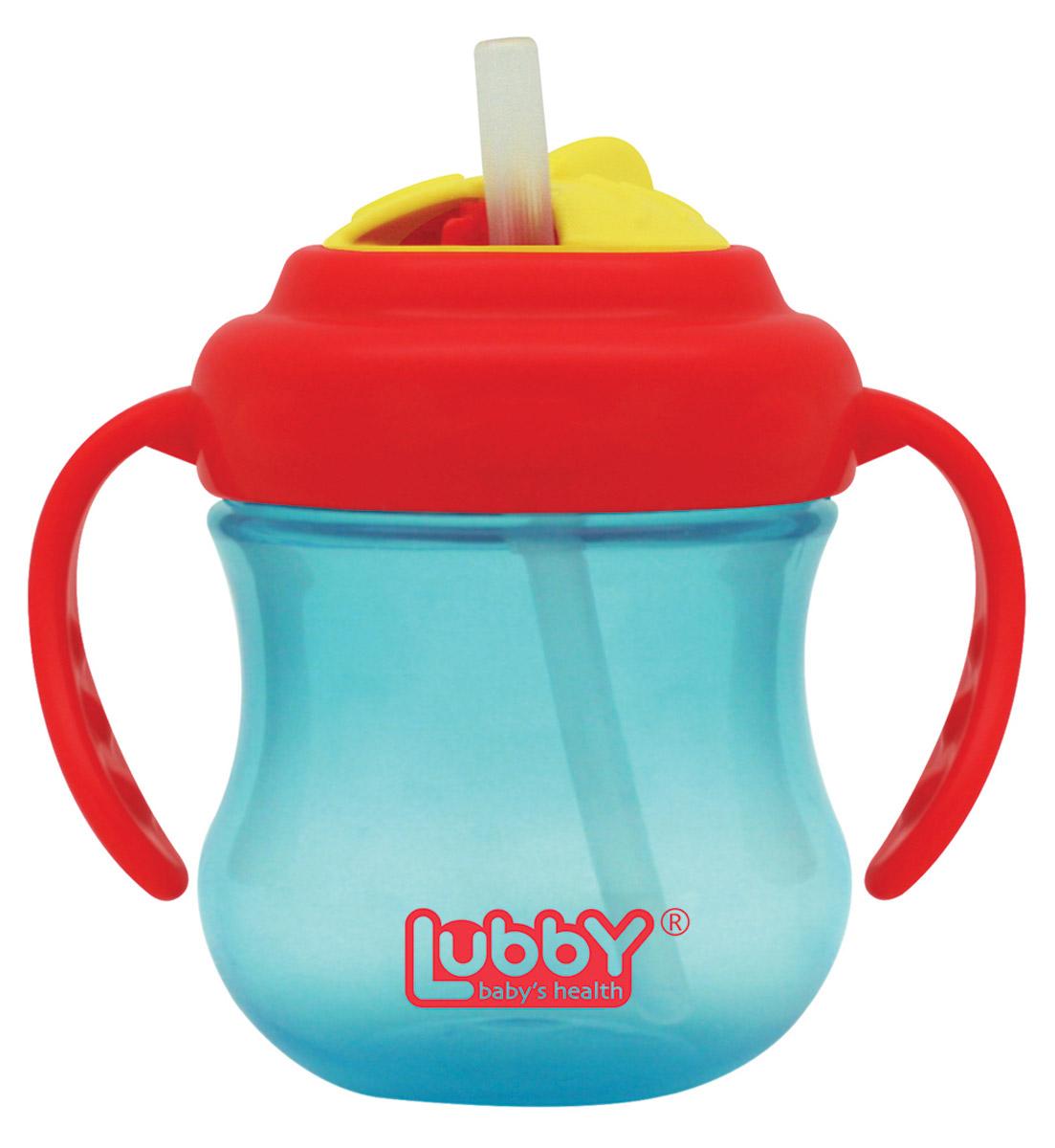 Lubby Поильник-непроливайка Mini Twist с трубочкой от 6 месяцев цвет голубой красный 250 мл