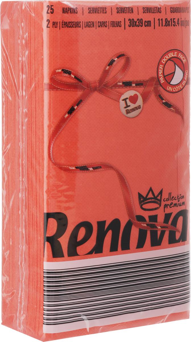 Салфетки бумажные Renova, двуслойные, цвет: красный, 25 шт20695Двухслойные салфетки Renova выполнены из натуральной целлюлозы. Они отличается необыкновенной мягкостью и прочностью. Салфетки выполнены в ярком цвете. С такими салфетками каждый ужин станет особенным. Уже аккуратно сложенные и готовые к трапезе. Размер салфетки: 39 х 30 см.