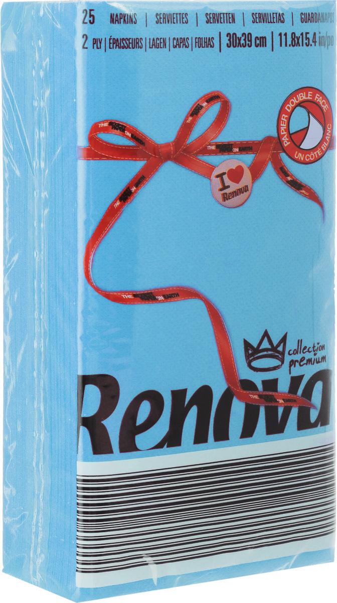 Салфетки бумажные Renova, двуслойные, цвет: голубой, 25 шт20718Двухслойные салфетки Renova выполнены из натуральной целлюлозы. Они отличается необыкновенной мягкостью и прочностью. Салфетки выполнены в ярком цвете. С такими салфетками каждый ужин станет особенным. Уже аккуратно сложенные и готовые к трапезе. Размер салфетки: 39 х 30 см.