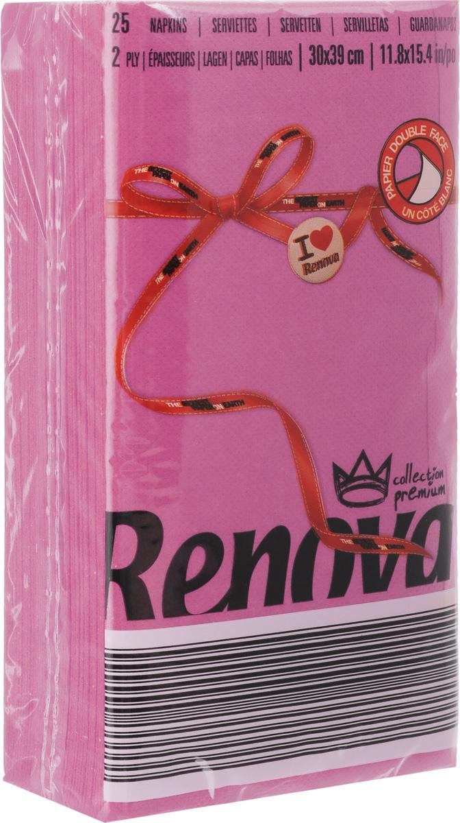 Салфетки бумажные Renova, двуслойные, цвет: фуксия, 25 шт20725Двухслойные салфетки Renova выполнены из натуральной целлюлозы. Они отличается необыкновенной мягкостью и прочностью. Салфетки выполнены в ярком цвете. С такими салфетками каждый ужин станет особенным. Уже аккуратно сложенные и готовые к трапезе. Размер салфетки: 39 х 30 см.