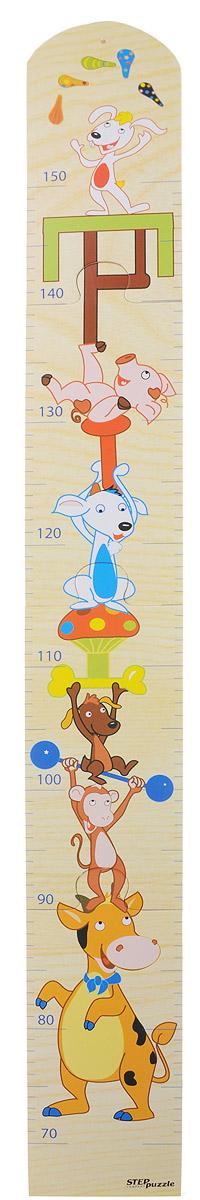 Step Puzzle Ростомер-пазл Цирк69943Ростомер-пазл Step Puzzle Цирк - это деревянный пазл для измерения роста детей. Состоит из 4 деталей. Ростомер-пазл с забавными зверюшками способствует развитию малыша (яркие картинки и занимательная сборка пазла), помогает наблюдать за ростом ребенка (простой и эффективный способ наблюдения), служит отличным украшением детской. Особенности: идеальная сцепка, экологически чистый материал, гладкие детали.