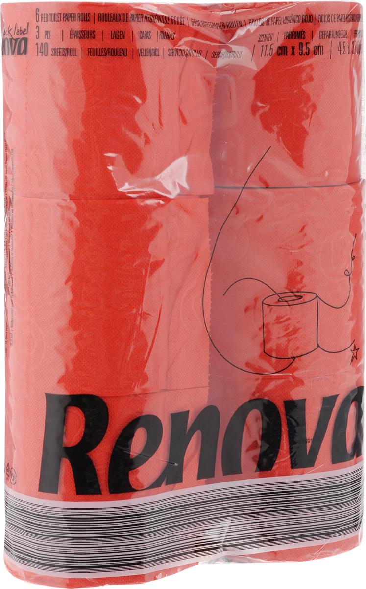Туалетная бумага Renova Color, трехслойная, ароматизированная, цвет: красный, 6 рулонов10108Туалетная бумага Renova Color изготовлена по новейшей технологии из 100% ароматизированной целлюлозы с лосьоном, благодаря чему она имеет тонкий аромат, очень мягкая, нежная, но в тоже время прочная. Перфорация надежно скрепляет слои бумаги. Туалетная бумага Renova Color сочетает в себе простоту и оригинальность. Состав: 100% ароматизированная целлюлоза. Количество листов: 140 шт. Количество слоев: 3. Размер листа: 11,5 х 9,7 см. Количество рулонов: 6 шт.