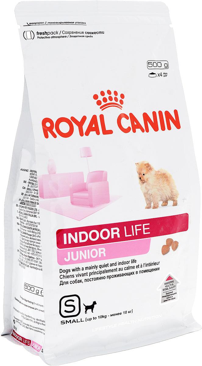 Корм сухой Royal Canin Indoor Life Junior, для щенков мелких пород, живущих в помещениях, 500 г57333Сухой корм Royal Canin Indoor Life Junior - полнорационный корм для щенков мелких пород в возрасте до 10 месяцев, живущих главным образом в помещении. Здоровое пищеварение. Нормальный стул. Indoor Life Junior поддерживает здоровье пищеварительной системы, уменьшает запах и объем фекалий благодаря высокоусвояемым белкам L.I.P., оптимальному содержанию клетчатки и качественным источникам углеводов. Естественная защита. Продукт поддерживает механизмы естественной защиты щенка благодаря эксклюзивному комплексу антиоксидантов и пребиотикам. Здоровье шерсти. Продукт содержит питательные вещества, поддерживающие здоровье кожи и шерсти. Обогащен жирными кислотами Омега 3 (EPA и DHA). Здоровье зубов. Продукт содержит хелаторы кальция, предотвращающие образование зубного камня и способствующие поддержанию гигиены полости рта. Состав: злаки, дегидратированные белки животного происхождения (птица), рис, животные жиры, изолят растительных...