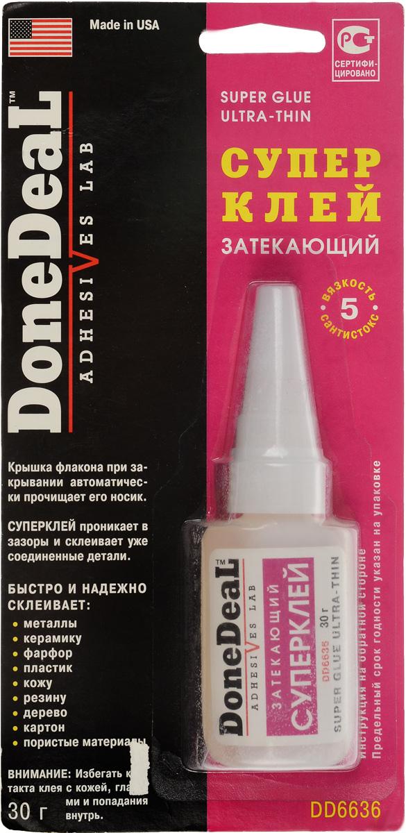 Суперклей Done Deal, затекающий, 30 гDD 6636Затекающий цианакрилатовый суперклей Done Deal предназначен для быстрого и надежного склеивания различных материалов и обладает высочайшей текучестью, смачиваемостью и адгезией. Суперклей проникает в зазоры и склеивает уже соединенные детали. Выдерживает воздействие высоких температур и большинства агрессивных жидкостей. В крышку флакона вмонтирована стальная иголка, которая при закрывании автоматически прочищает носик флакона и предотвращает застывание в нем клея. Быстро и надежно склеивает: металлы, керамику, пластик, резину, фарфор, кожу, дерево, картон, пористые материалы. Термоустойчивость: от -50°С до +95°С. Прочность соединения: 204 кг/см2. Время схватывания: 30 сек. Время отвердевания: 2 мин. Время полной полимеризации: 24 ч.