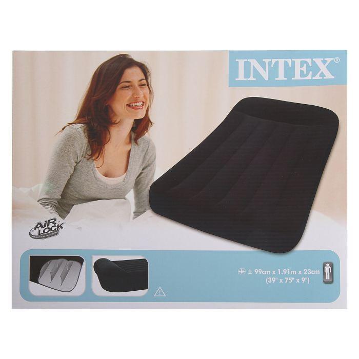 Кровать надувная Intex Pillow Rest Classic 99х191х23 см, цвет: черный. 66767557131У каждого человека есть любимые занятие, увлечения или хобби. У многих они связаны со спортом и туризмом, кто-то любит проводить время более умиротворенно, например, за настольными играми. Кровать надувная Pillow Rest Classic с подголовником может стать отличным подарком для друзей и близких, который вы можете купить оптом у нас по выгодной цене. Кровать надувная Pillow Rest Classic с подголовником 99х191х23 см 66767