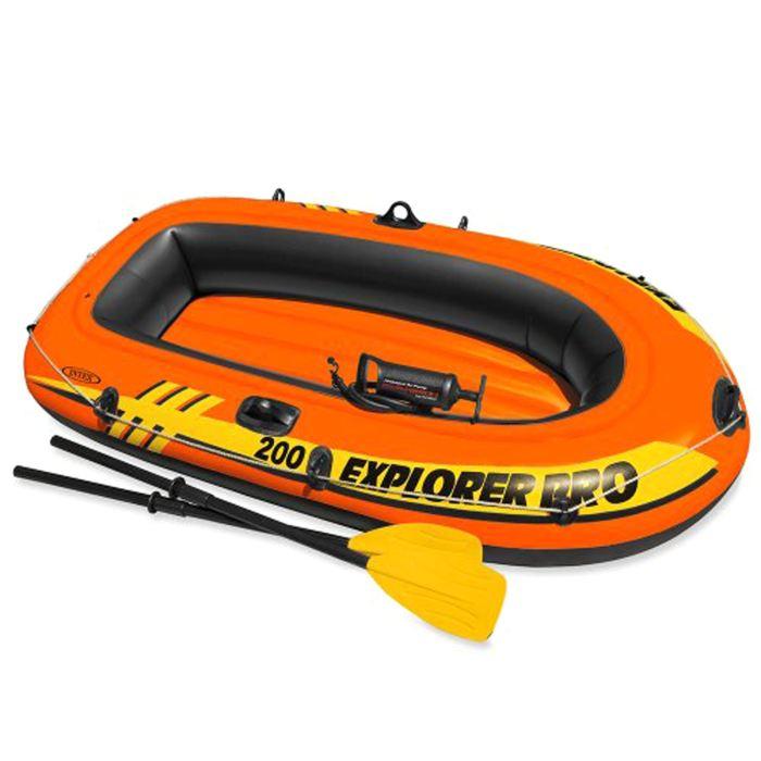 Лодка Intex Explorer Pro 200, цвет: оранжевый. 58357NP747930Лодка Intex состоит из абсолютно независимых трех воздушных отсеков. Каждый отсек имеет клапан для быстрого скачивания и надувания лодки. Основной, внешний отсек придает лодке форму. Внутренние отсеки создают жесткость лодки на плаву и обеспечивают пассивную безопасность, в случае повреждения основного отсека. Надувной пол обеспечивает дополнительный комфорт нахождения внутри изделия. Для удобства конструкция надувного пола сделана волнистой, поперек бортам лодки. Лодка имеет крепления для весел и две лодочные уключины. На носу имеется пластиковая ручка, для переноса лодки или спуска на воду. Вокруг внешней камеры лодки находится веревочный трос, его можно использовать как для буксировки лодки, так и для швартования. Лодка Explorer Pro 200 двухместная до 120 кг 196х102х33 см, от 6 лет (весла, насос)