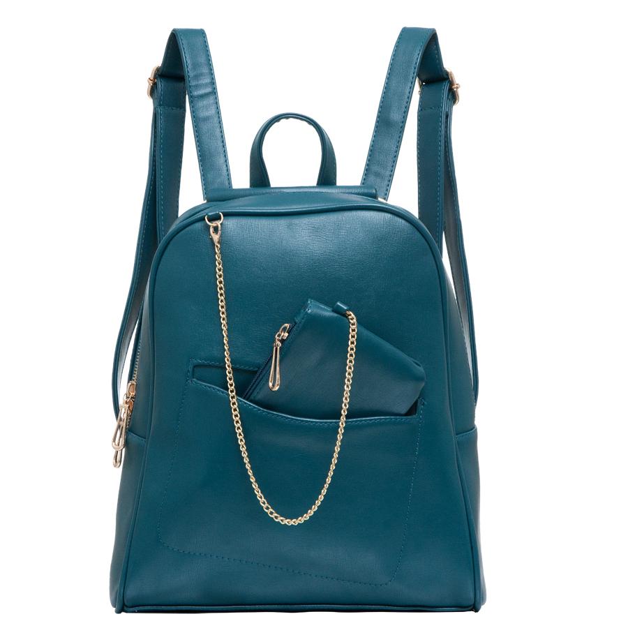 Рюкзак женский OrsOro, цвет: морская волна. D-238/18D-238/18Стильный рюкзак OrsOro, выполнен из экокожи и оснащен двумя плечевыми ремнями на спинке и удобной ручкой для переноски. Изделие имеет одно основное отделение и застегивается с помощью застежки-молнии. Внутри расположены три накладных кармана и врезной карман на застежке-молнии. Задняя сторона рюкзака дополнена врезным карманом на молнии, спереди расположен открытый прорезной карман. В комплект входит кошелек с подвеской.