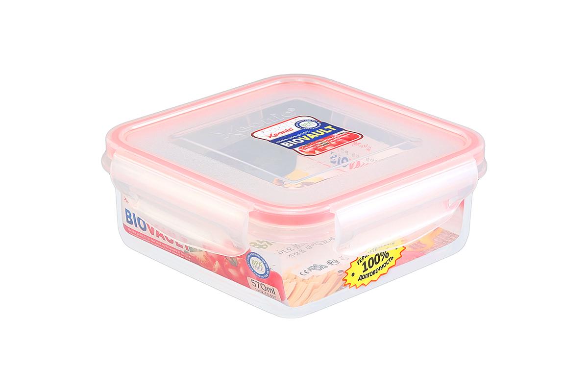 Контейнер пищевой Xeonic, цвет: прозрачный, красный, 570 мл. 810058810058Пластиковые герметичные контейнеры для хранения продуктов Xeonic произведены из высококачественных материалов, имеют 100% герметичность, термоустойчивы, могут быть использованы в микроволновой печи и в морозильной камере, устойчивы к воздействию масел и жиров, не впитывают запах. Удобны в использовании, долговечны, легко открываются и закрываются, не занимают много места, можно мыть в посудомоечной машине. Размеры контейнера: 14,3 х 14,3 х 5,5 см.