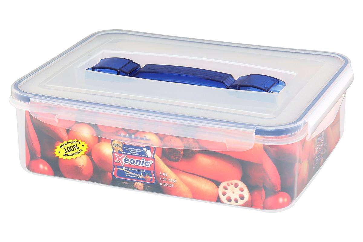 Контейнер пищевой Xeonic, прямоугольный, с ручкой, цвет: прозрачный, синий, 3,8 л. 810108810108Пластиковые герметичные контейнеры для хранения продуктов Xeonic произведены из высококачественных материалов, имеют 100% герметичность, термоустойчивы, могут быть использованы в микроволновой печи и в морозильной камере, устойчивы к воздействию масел и жиров, не впитывают запах. Удобны в использовании, долговечны, легко открываются и закрываются, не занимают много места, можно мыть в посудомоечной машине. Размеры контейнера: 29,3 х 22,8 х 8,3 см.