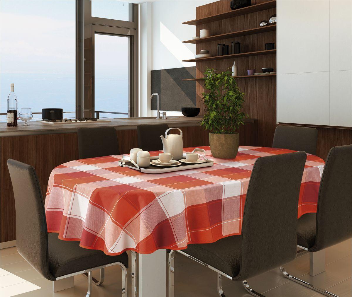 Скатерть Wisan, овальная, цвет: терракотовый, 130 х 180 см336ВСкатерть выполнена в европейском стиле,ткань плотная.