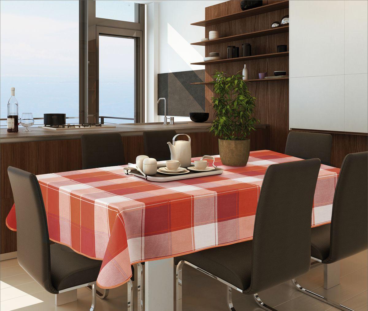 Скатерть Wisan, прямоугольная, цвет: терракотовый, 130 х 160 смVT-1520(SR)Великолепная скатерть Wisan органично впишется в интерьер любого помещения, а оригинальный дизайн удовлетворит даже самый изысканный вкус. Изделие выполнено из полиэстера и хлопка. Края скатерти закруглены.