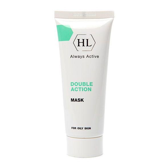 Holy Land Сокращающая маска для лица Double Action Mask, 70 млFS-00103Сокращающая противовоспалительная маска для жирной и себорейной кожи.Действие:Глубоко очищает кожу, поглощает избытки жировых выделений.Удаляет мертвые клетки эпидермиса, устраняет гиперкератоз.Сокращает поры, регулирует салоотделение.Абсорбирует отделяемое воспалительных элементов, подсушивает поверхностные воспаления.Ускоряет заживление повреждений и ранок на коже.Эффективна при демодекозе.Успокаивает кожу, уменьшает раздражение после чистки.Активные компоненты: Каолин (белая глина) обладает отшелушивающим, подсушивающим и сокращающим действием, абсорбирует загрязнения и излишки кожного жира, стягивает поры, уменьшает раздражение.Коллоидная сера кератолитическое, антибактериальное, ранозаживляющее и обеззараживающее вещество, регулирует деятельность сальных желез, эффективна при жирной себорее, обладает положительным воздействием на кожу, склонную к образованию угрей. Открывает ороговевшие фолликулы и абсорбирует содержимое воспалительных элементов, очищает поры, подсушивает воспаления.Аллантоин смягчает и успокаивает кожу, устраняет шелушение, стимулирует обновление клеток эпидермиса. Подавляет рост бактерий, ускоряет регенеративные процессы и заживление ран, обладает кератолитическим и легким обезболивающим действием. Экстракт ромашки обладает противовоспалительным, успокаивающим и смягчающим действием, уменьшает воспаление, очищает поры, устраняет сухость и шелушение, стимулирует процессы регенерации эпидермиса, ускоряет заживление ран.Каламин порошкообразное вещество минерального происхождения, способствует подсушиванию, стягиванию пор и успокоению кожи. Способ применения: После очищения кожи нанести маску тонким равномерным слоем на проблемные зоны на 20 минут. Тщательно смыть губками с водой и нанести увлажняющее средство. Использовать не чаще 2 раз в неделю.