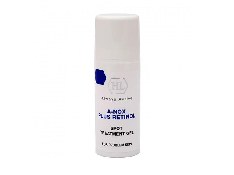 Holy Land Точечный гель A-Nox Plus Retinol Spot Treatment Gel, 20 мл114508Бесцветный гель для локального воздействия содержит уникальную комбинацию эфирных масел и чистого ретинола. Компоненты геля глубоко проникают в дерму и способствуют рассасыванию глубоко лежащих инфильтратов. Гель уменьшает отек, боли и другие признаки воспаления, дезинфицирует, ускоряет заживление повреждений. Активные компоненты: сера, аллантоин, глицерин, камфора, салициловая кислота, экстракт ромашки, масло мяты перечной, эвкалиптовое масло, масло лимонника, ретинол.
