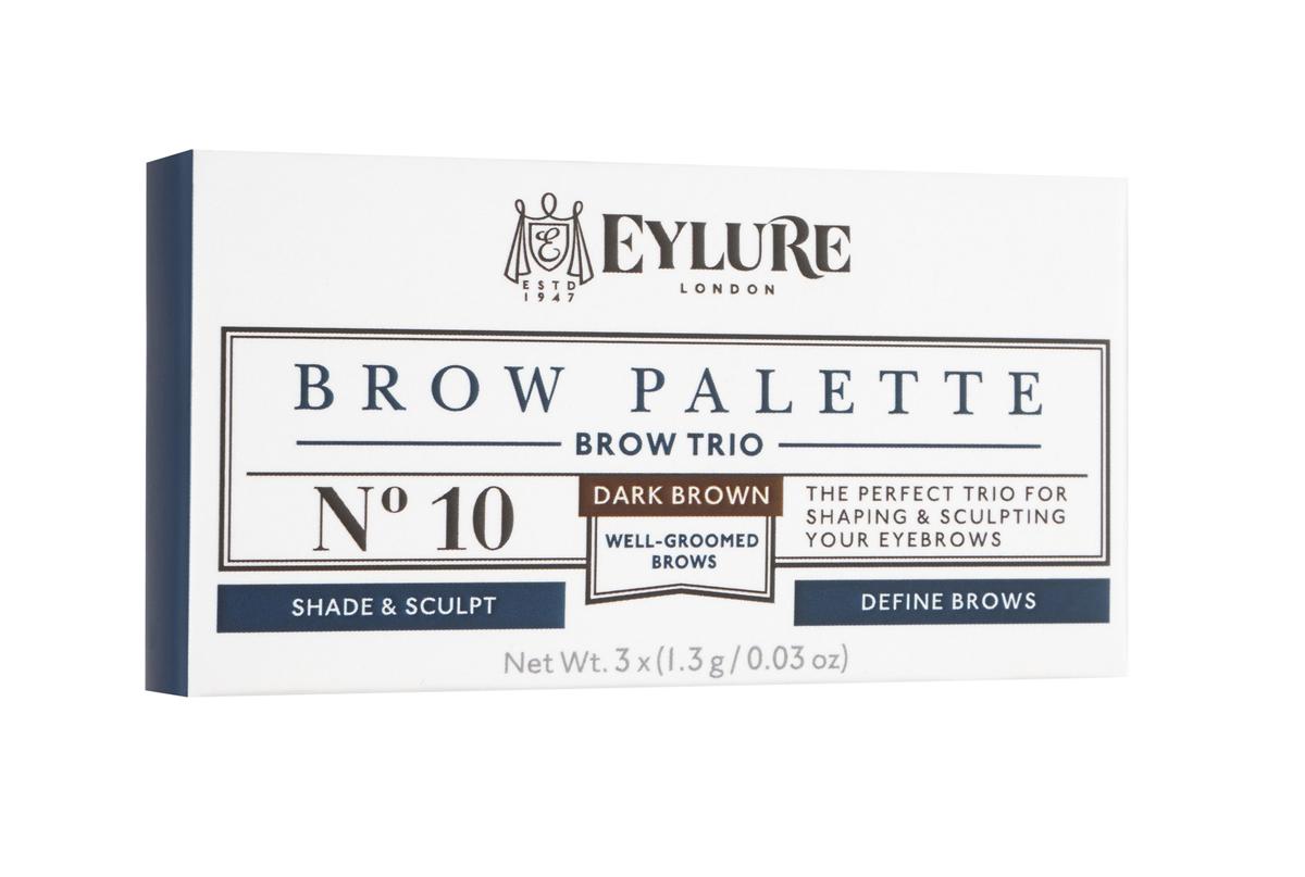 Eylure Палетка для моделирования бровей 10 Brow Palette - Темно-коричневая 3*3 гр6008101Набор для моделирования бровей для создания формы, цвета и выразительности. В составе теней витамины A и C, антиоксидант витамин E и силиконовый флюид, которые придают гладкость при нанесении. Воск придает устойчивость и водостойкий эффект, а розмарин и масло сладкого миндаля в составе воска увлажняют и ухаживают за бровями. Моделирование: зафиксируйте форму бровей с помощью воска Цвет: с помощью интенсивно пигментированных теней Выделение: подчеркните брови с помощью хайлайтера В комплекте: Тени для бровей, моделирующий воск, хайлайтер и аппликатор. Объем: 3 Х 3 г