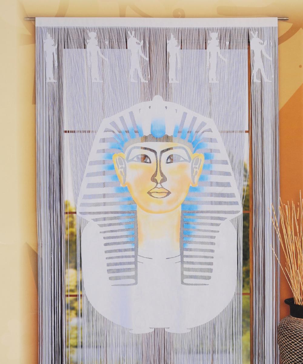 Гардина-панно Wisan Faraon, цвет: белый, на кулиске, высота 240 см619АНитяная гардина-панно Wisan Faraon белого цвета с цветным рисунком египетского фараона, изготовленная из полиэстера, станет великолепным украшением любого окна. Оригинальное оформление гардины внесет разнообразие и подарит заряд положительного настроения. Верхняя часть гардины крепится на кулиску или зажимы для штор.