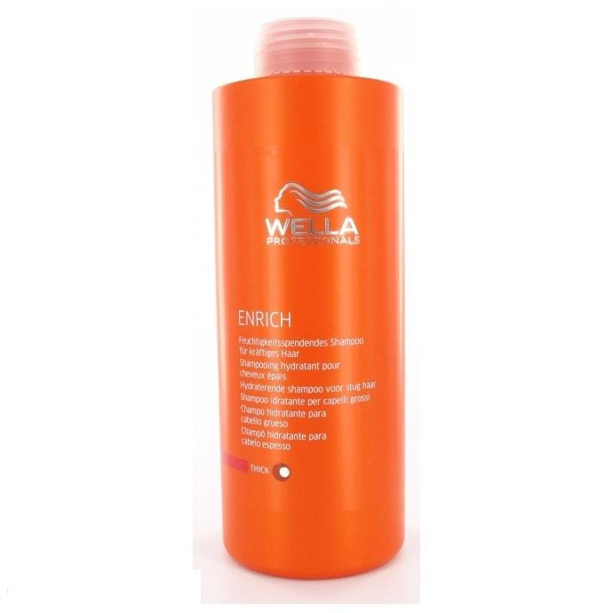 Wella Питательный шампунь Enrich Line для увлажнения жестких волос, 1000 млFS-00103Для увлажнения жестких волос отлично подходит питательный шампунь от Wella. Он, обладая превосходными очищающими свойствами, интенсивно увлажняет волосы, питает их. Средство наполняет волосы силой, делает их здоровыми, упругими. Благодаря использованию этого шампуня, волосы насыщаются питательными элементами, витаминами. Кроме того, препарат обеспечивает вашим локонам надежную защиту от негативного влияния внешней среды.Как результат, даже волосы становятся блестящими и мягкими.В состав средства входят глиоксиловая кислота, эксклюзивная салонная формула, витамин Е, экстракт шелка и пантенол.