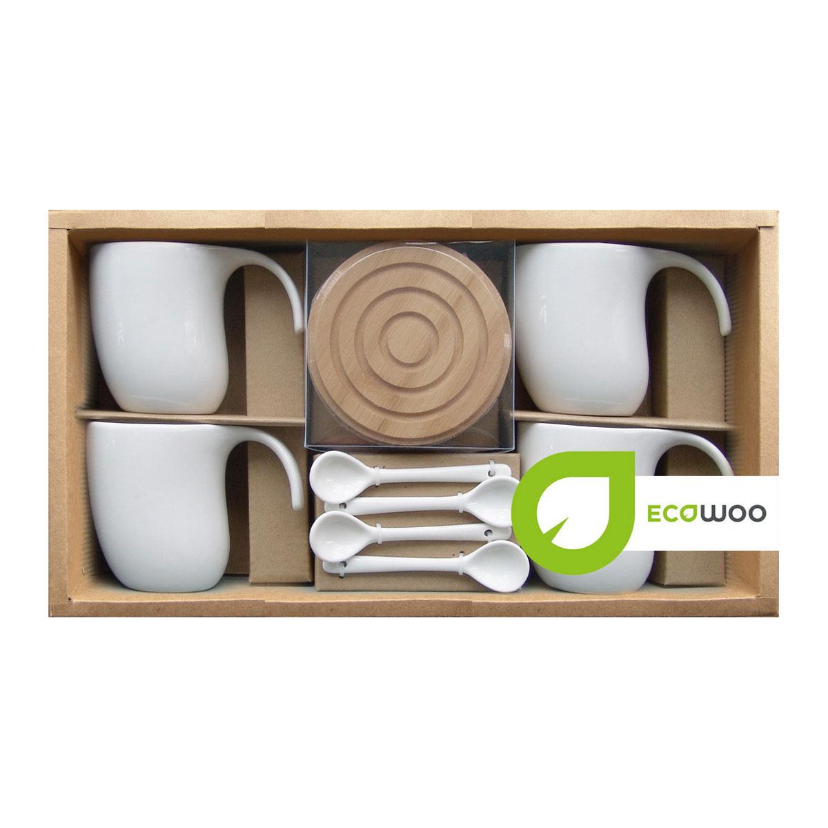 Набор чайный EcoWoo, 12 предметов. 2012245U2012245UНабор чайный на 4 персоны EcoWoo - это не только идеальный подарок, но и прекрасный повод побаловать себя! Состав набора: 4 чашки, 300 мл, 4 бамбуковые подставки D10 см и 4 ложки 10,5 см. Материал: фарфор, бамбук. Не использовать в посудомоечной машине. Упаковка: ПВХ-коробка в крафт-основе. Цвет: белый. Идеальное решение для ценителей экологичных деталей в интерьере и поклонников здорового образа жизни. Больше оценят поклонники современного стиля.