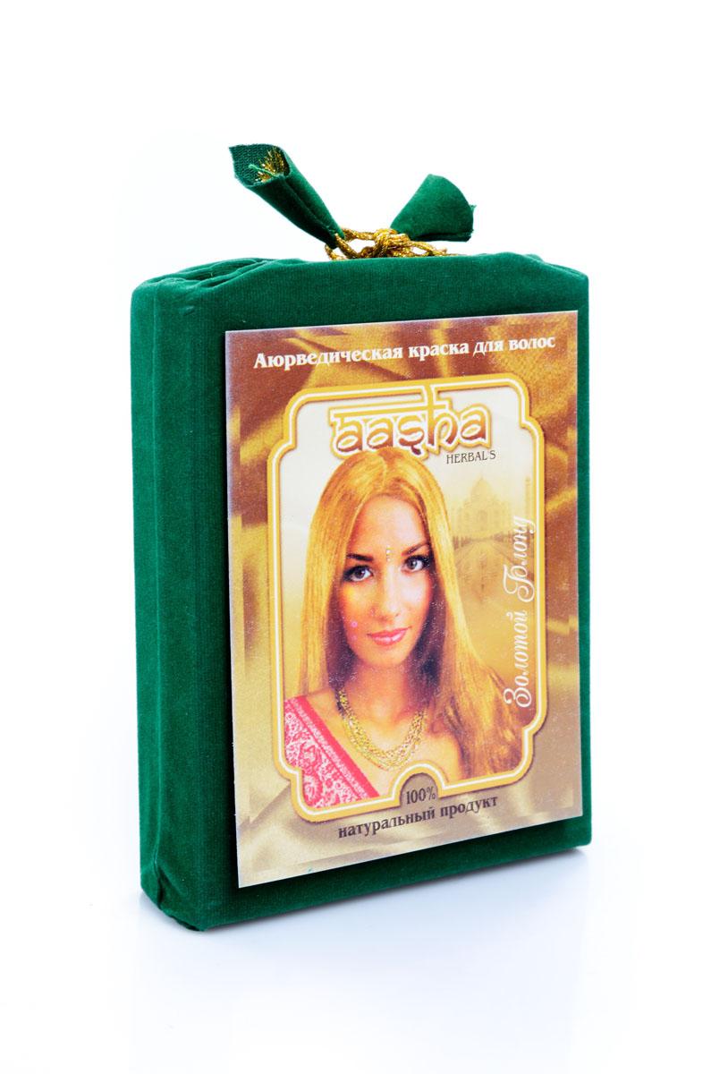 Aasha Herbals Аюрведическая краска для волос Золотой Блонд, 100 г841028002108Композиция натуральной индийской хны и 24 растений с лечебными свойствами. Краска «Золотой Блонд окрашивает волосы в насыщенный цвет светлого молочного шоколада. После первого окрашивания цвет сохраняется 2-3 недели. В комплект входят шапочка, перчатки, кисточка, инструкция по применению