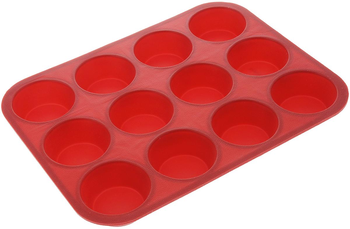 Форма для выпечки Tescoma Delicia Silicone, цвет: красный, 12 ячеек. 629350629350_красныйФорма Tescoma Delicia Silicone будет отличным выбором для всех любителей выпечки. Благодаря тому, что форма изготовлена из силикона, готовую выпечку вынимать легко и просто. Изделие выполнено в форме прямоугольника, внутри которого расположены 12 ячеек. Форма прекрасно подойдет для выпечки маффинов и кексов. С такой формой вы всегда сможете порадовать своих близких оригинальной выпечкой. Материал изделия устойчив к фруктовым кислотам, может быть использован в духовках, микроволновых печах, холодильниках и морозильных камерах (выдерживает температуру от -40°C до 230°C). Антипригарные свойства материала позволяют готовить без использования масла. Можно мыть и сушить в посудомоечной машине, охлаждать в холодильнике. При работе с формой используйте кухонный инструмент из силикона - кисти, лопатки, скребки. Не ставьте форму на электрическую конфорку. Не разрезайте выпечку прямо в форме. Общий размер формы: 33 х...