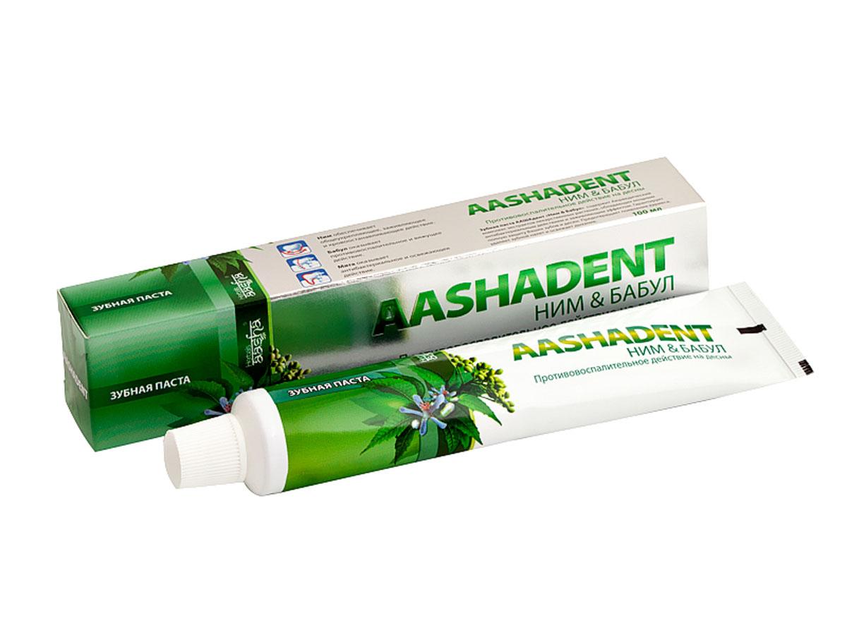 Aashadent Зубная паста Ним и Бабул, 100 мл0841028004201Способствует отбеливанию зубной эмали, укрепляет десны, препятствует образованию зубного налета. Надолго устраняет неприятный запах и освежает дыхание. Рекомендуется для лечебной профилактики десен и слизистой оболочки рта