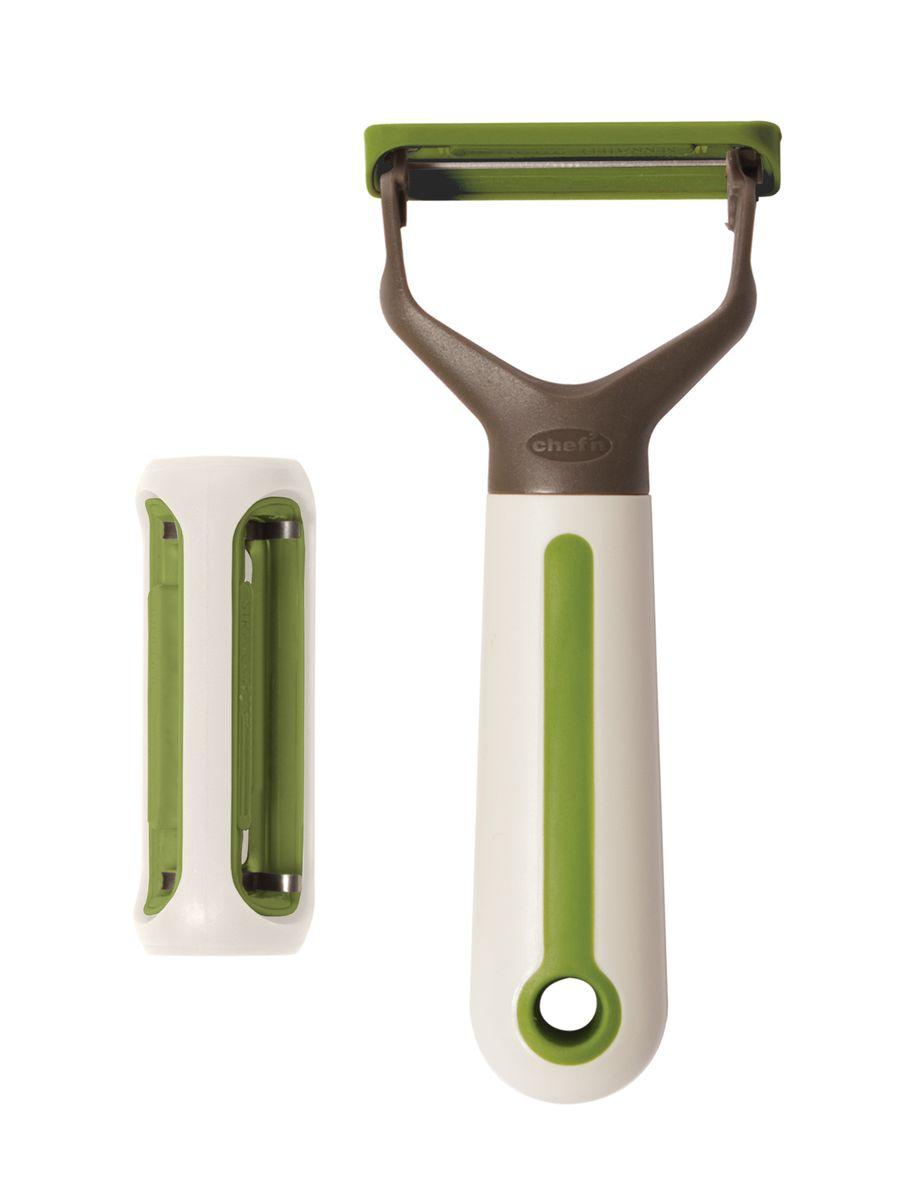 Овощечистка 3 в 1 ChefnCM000001326Овощечистка 3 в 1 Chefn имеет три насадки для разных видов овощей, что позволит быстро и комфортно подготовить овощи для приготовления. Удобная эргономичная ручка выполнена из прочного пластика. Можно мыть в посудомоечной машине.